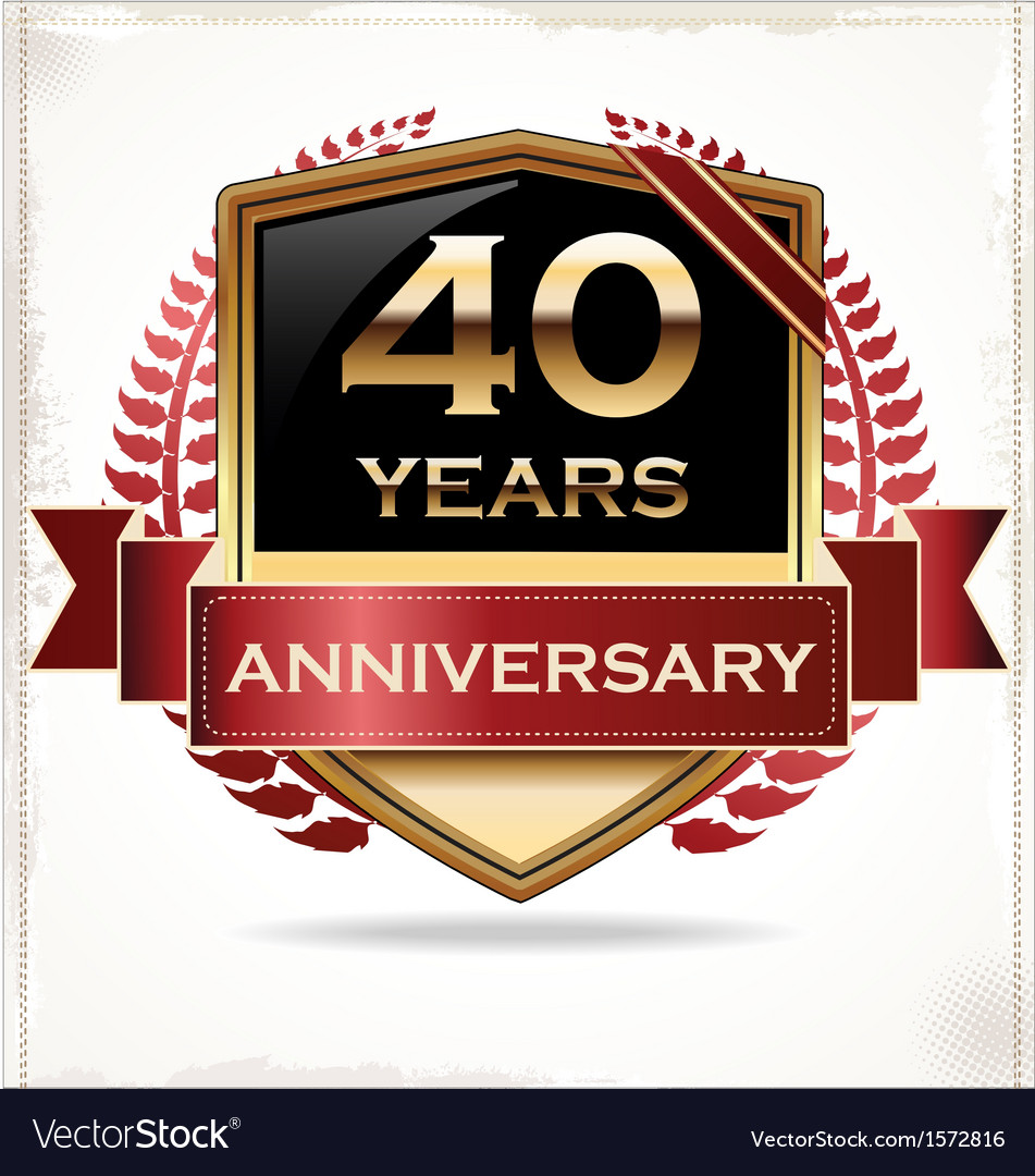 40 years anniversary golden label vector | Price: 3 Credit (USD $3)