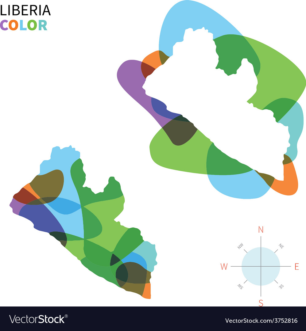Abstract color map of liberia vector | Price: 1 Credit (USD $1)