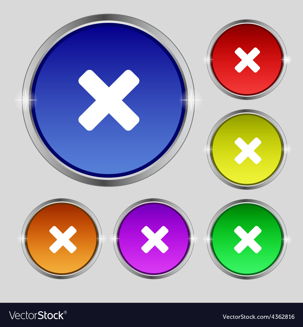 Cancel multiplication icon sign round symbol on vector | Price: 1 Credit (USD $1)