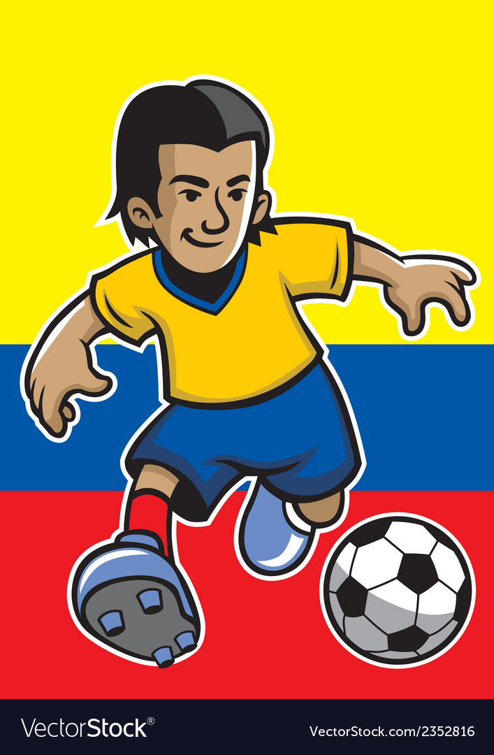 Colombia soccer player with flag background vector | Price: 1 Credit (USD $1)