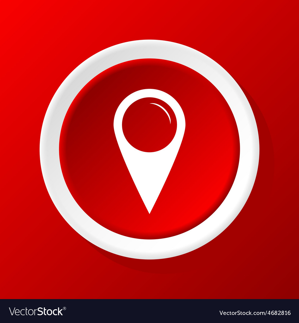 Map pointer icon on red vector | Price: 1 Credit (USD $1)