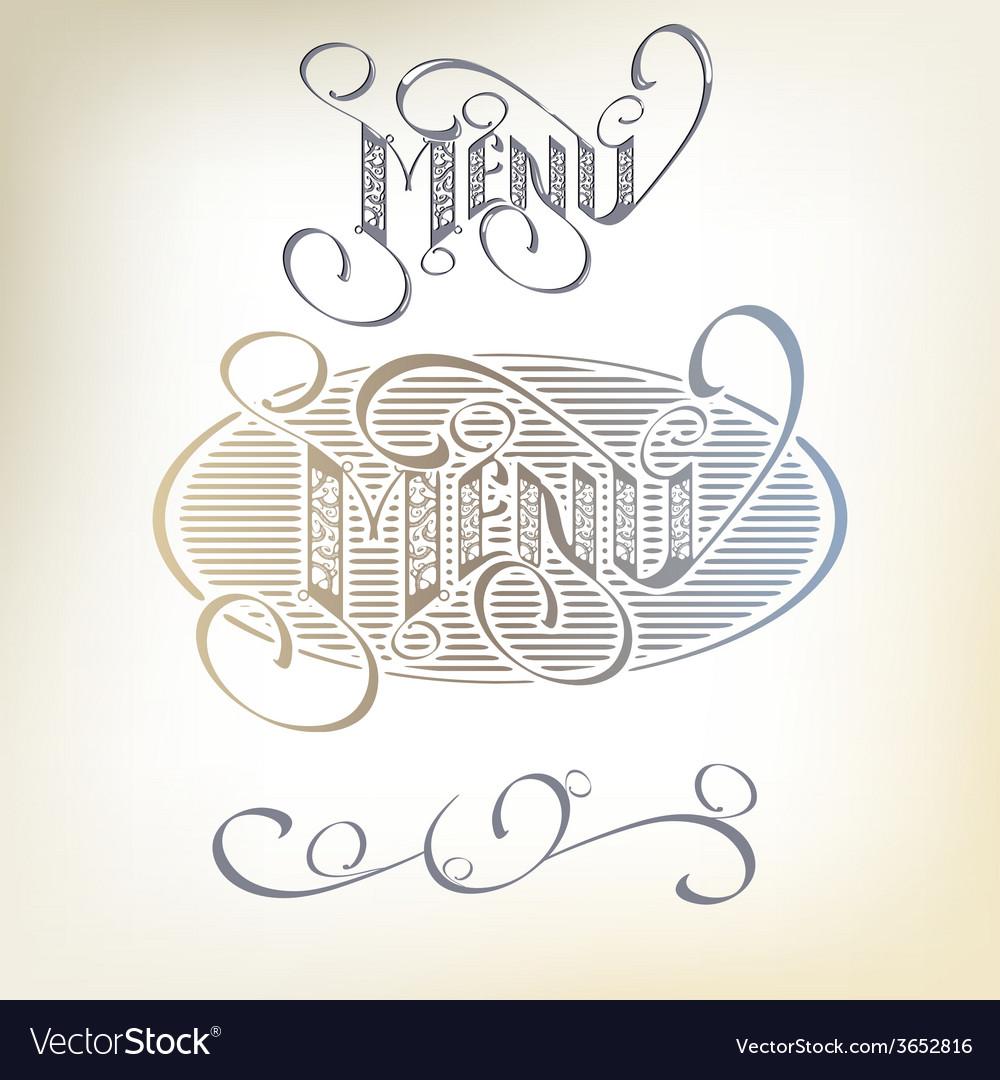 Menu headlines hand lettering vector | Price: 1 Credit (USD $1)