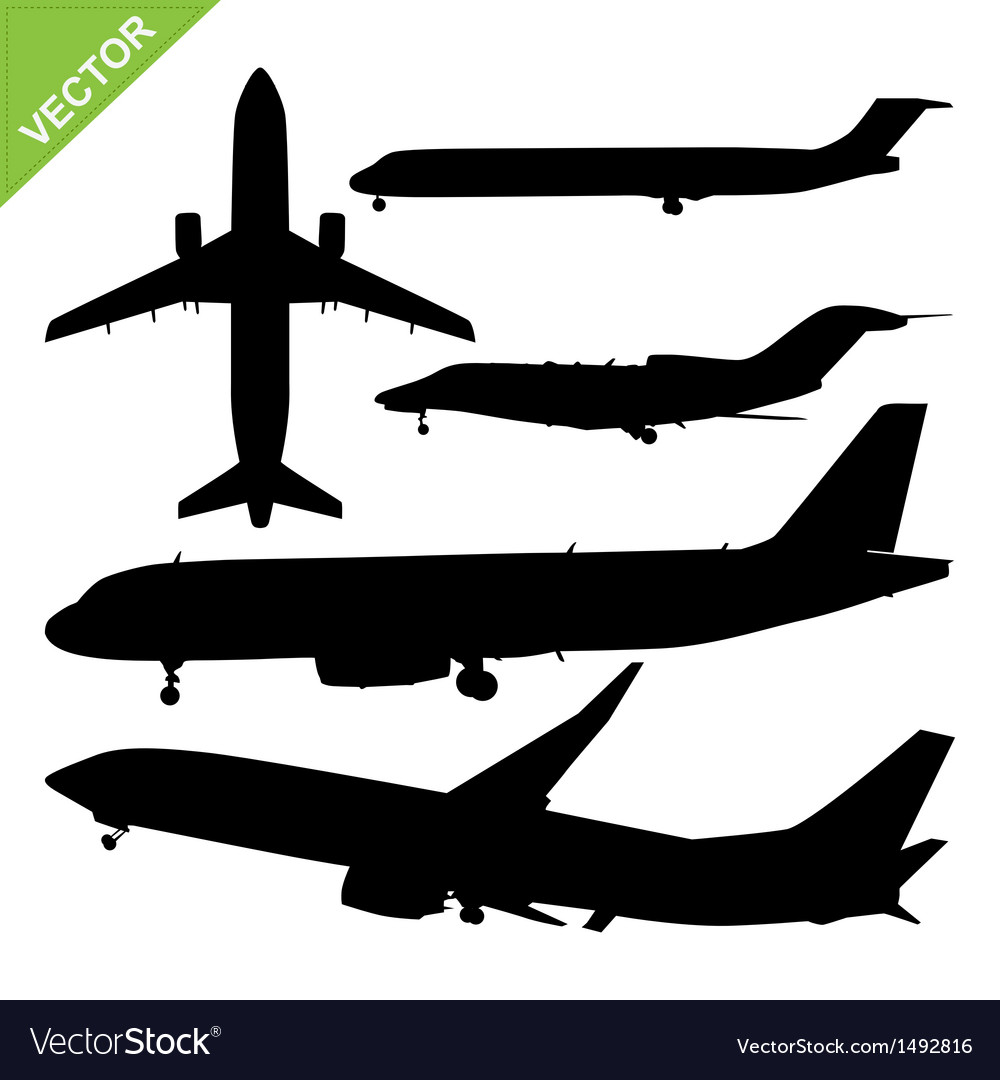 Plane silhouette vector | Price: 1 Credit (USD $1)