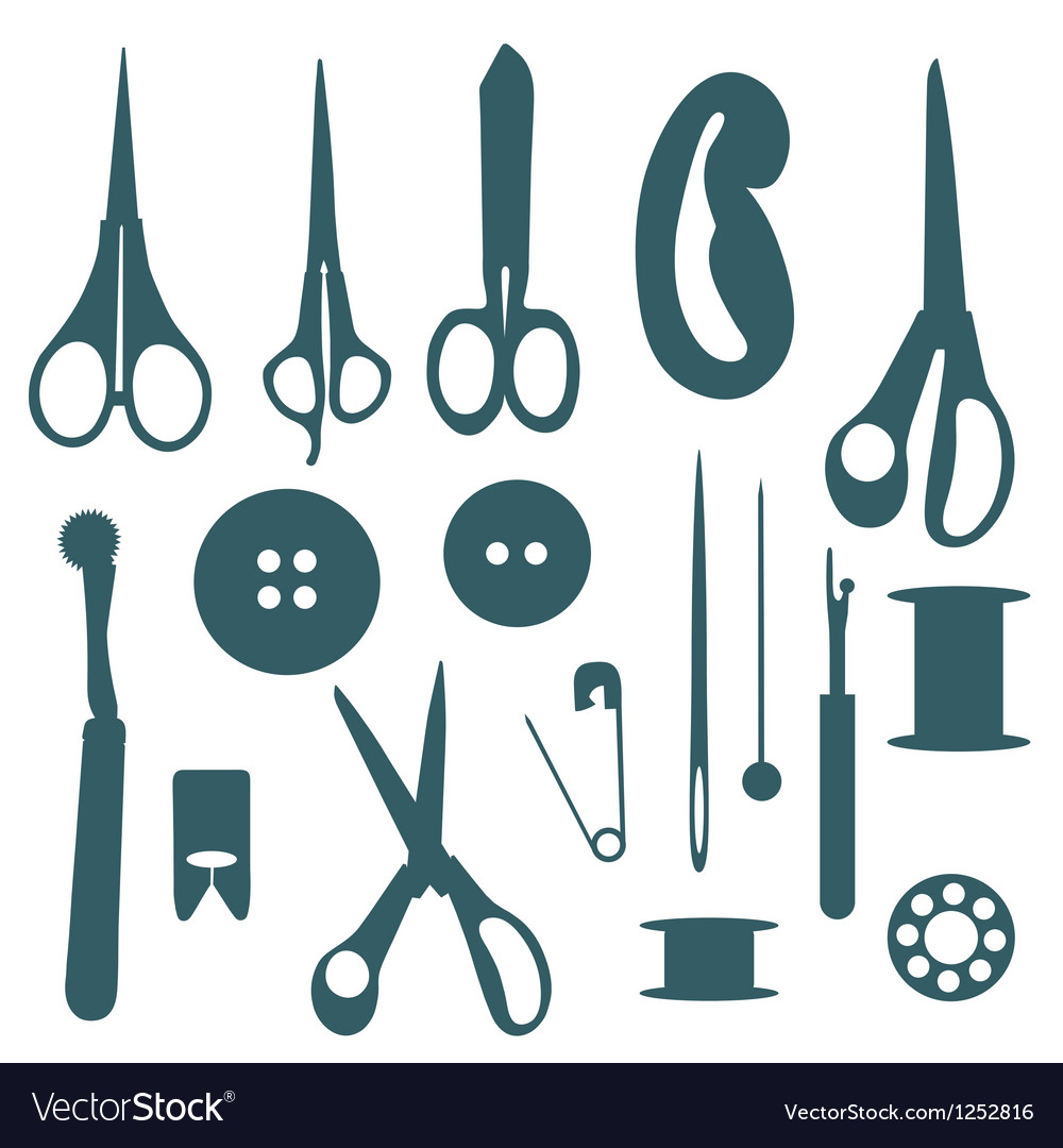Sewing objects silhouettes set vector | Price: 1 Credit (USD $1)