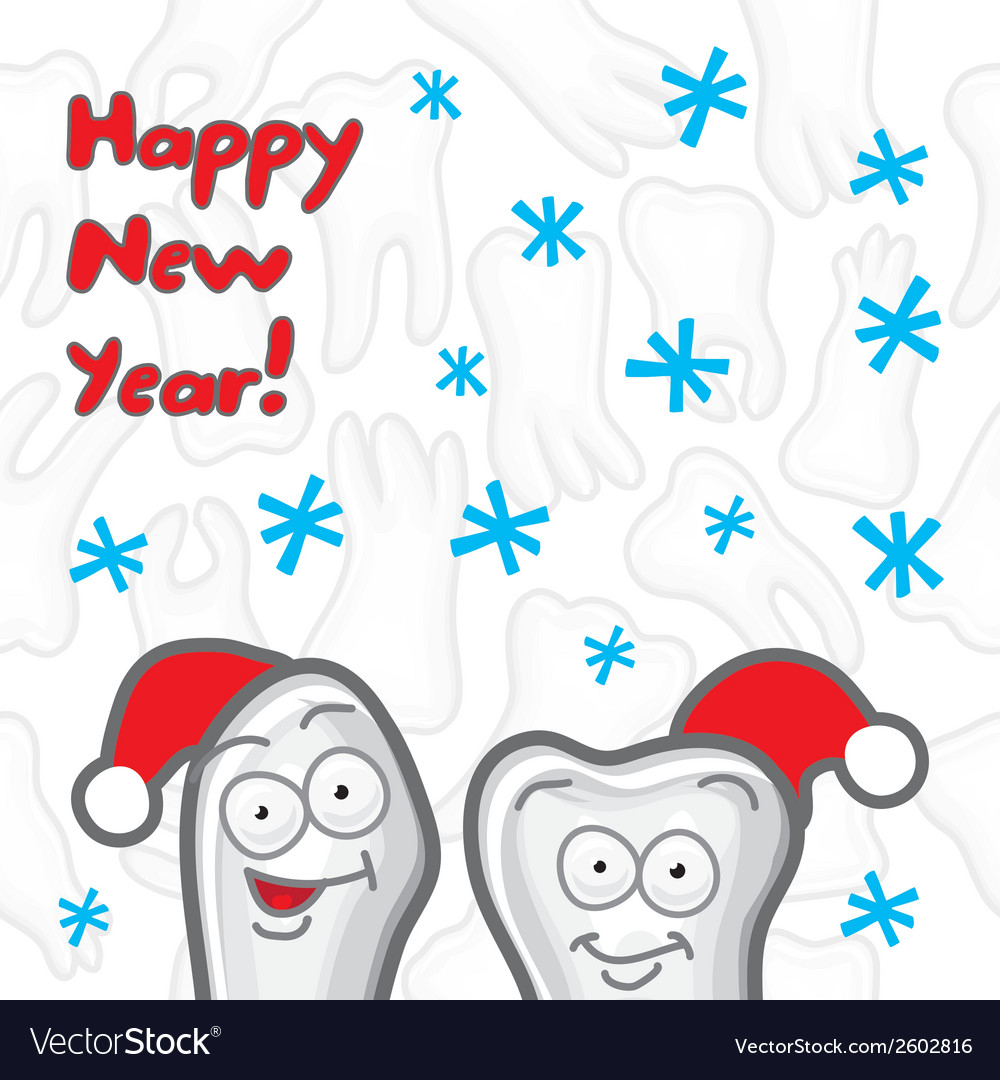 Teeth happy new year greeting card vector | Price: 1 Credit (USD $1)