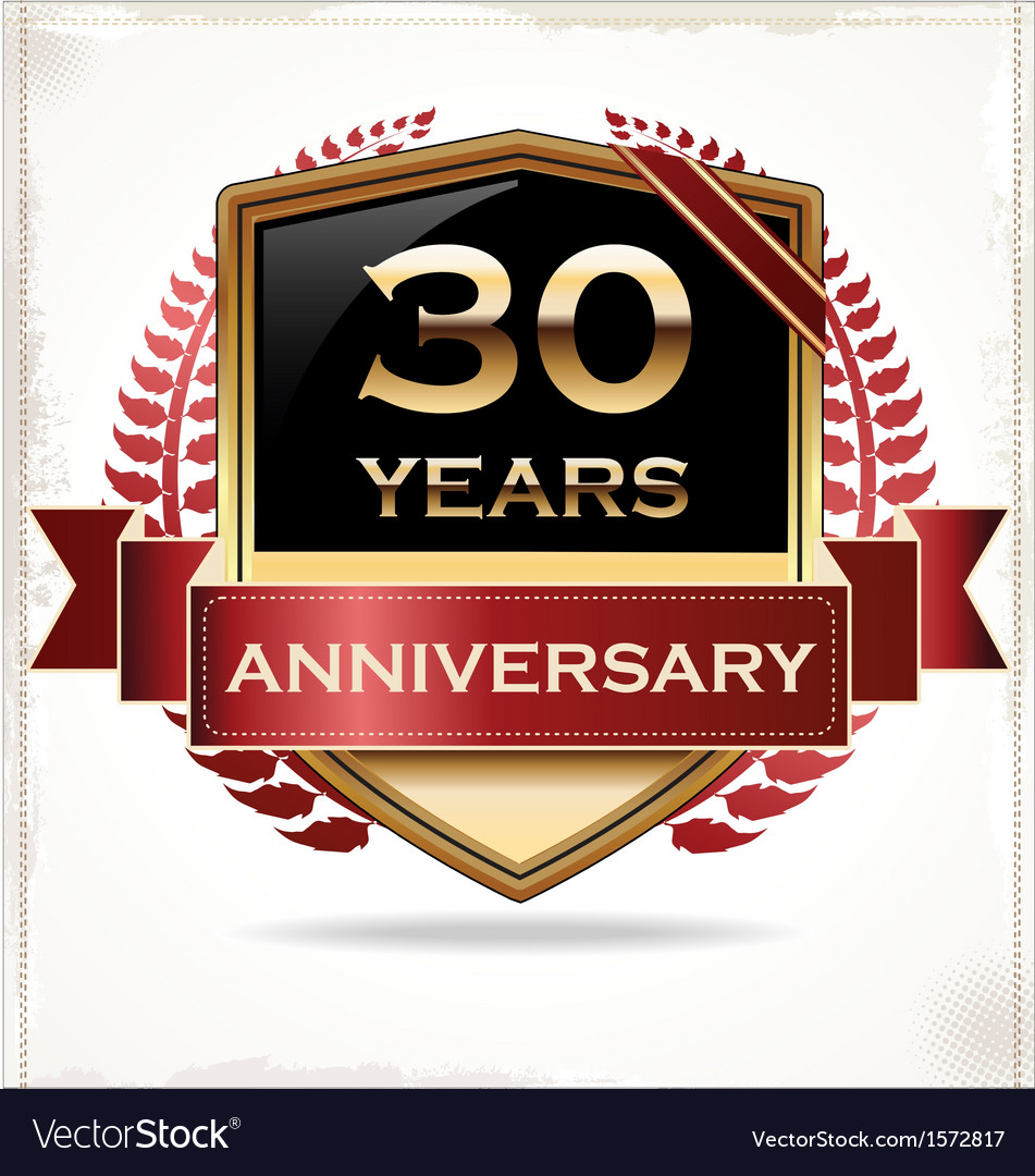 30 years anniversary golden label vector | Price: 3 Credit (USD $3)