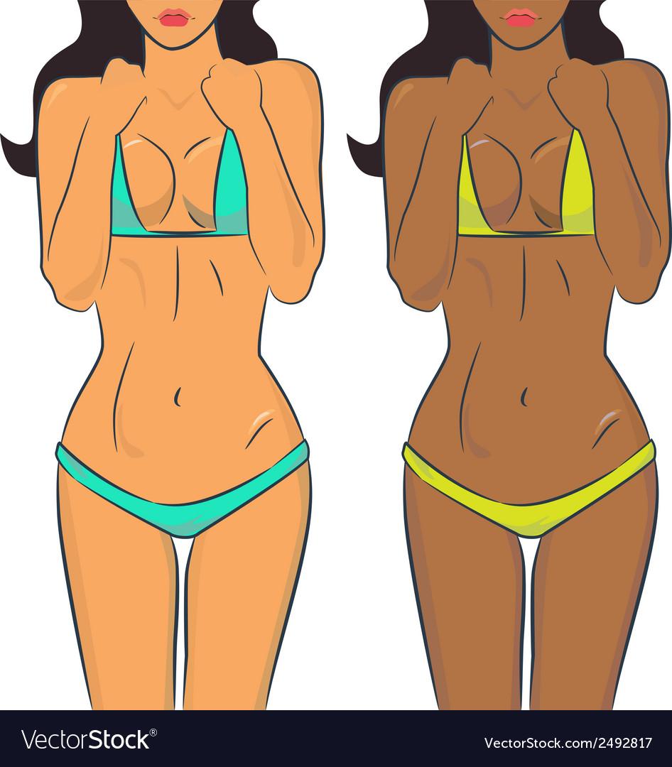 Beautiful woman bodies in bikini vector | Price: 1 Credit (USD $1)