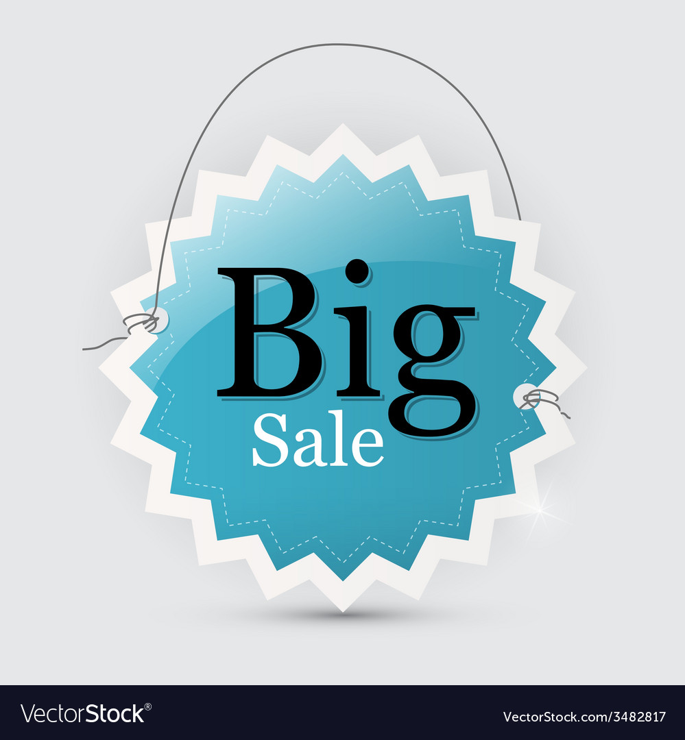 Big sale blue tag with string vector | Price: 1 Credit (USD $1)