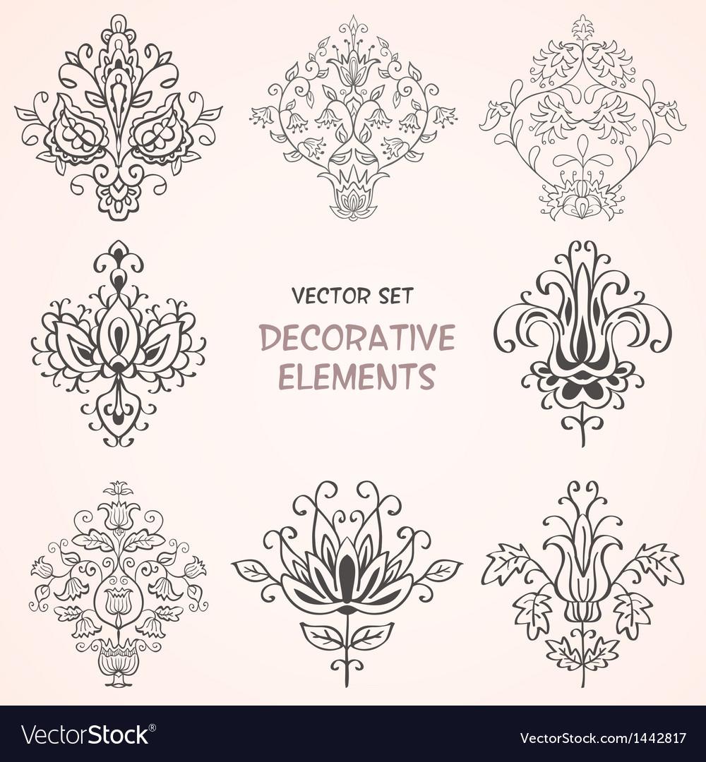 Decorative design elements set vector | Price: 1 Credit (USD $1)
