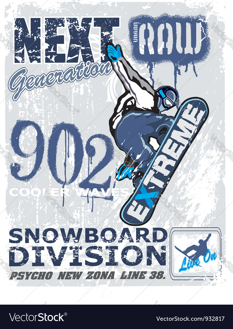 Extreme snow boarder revise vector | Price: 1 Credit (USD $1)