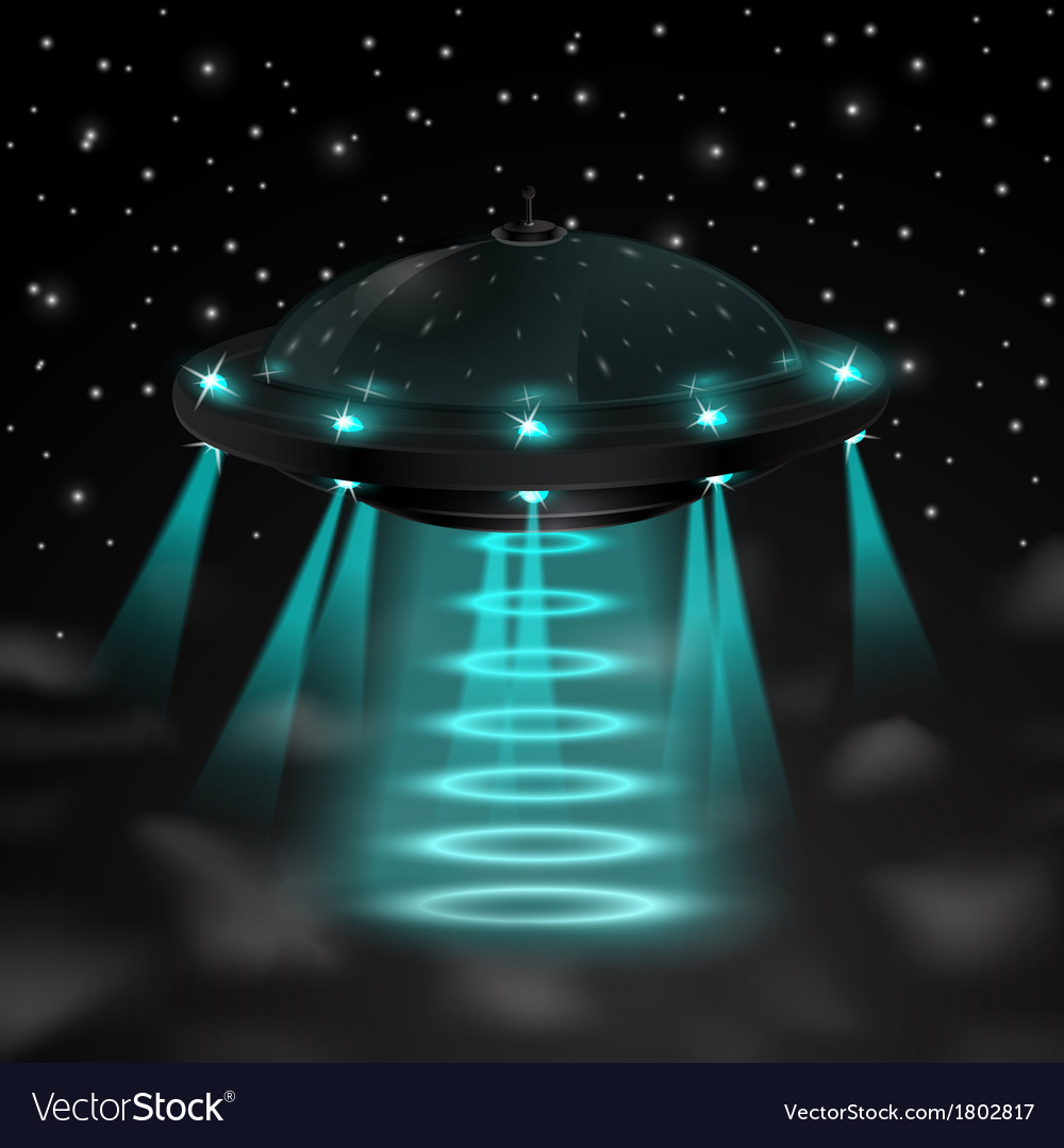 Flying ufo in the night vector | Price: 1 Credit (USD $1)
