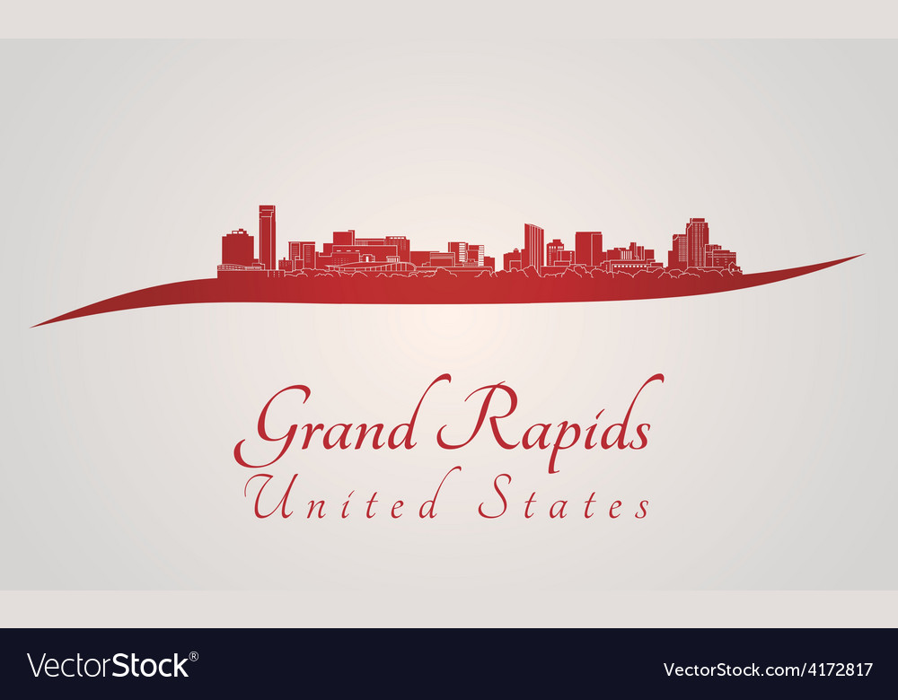 Grand rapids skyline in red vector | Price: 1 Credit (USD $1)