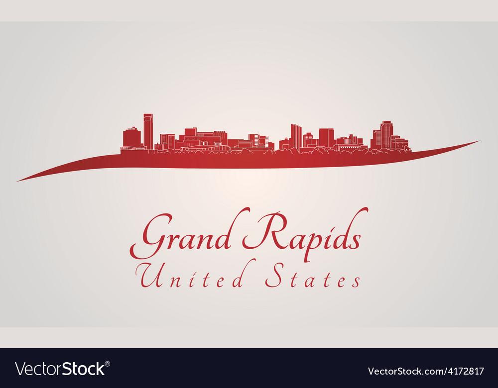 Grand rapids skyline in red vector | Price: 1 Credit (USD $1)
