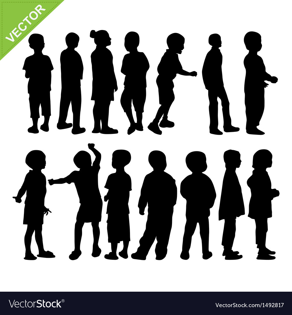 Kids silhouette vector | Price: 1 Credit (USD $1)