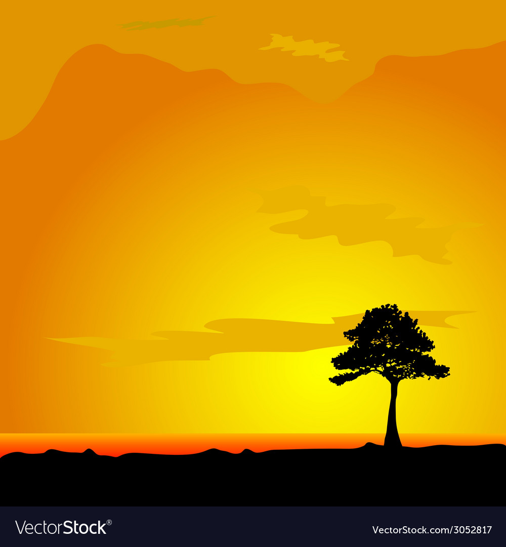 Tree on desert vector | Price: 1 Credit (USD $1)