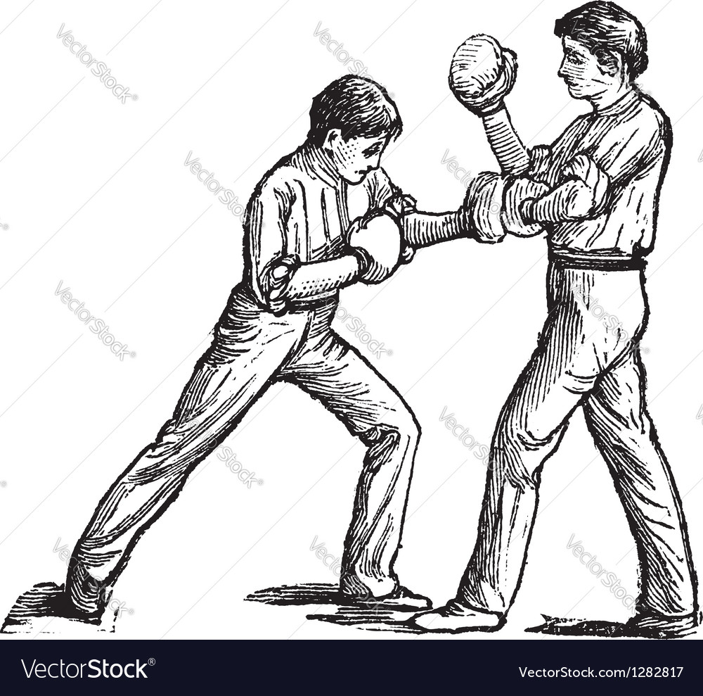 Two boxers fighting vintage engraving vector | Price: 1 Credit (USD $1)