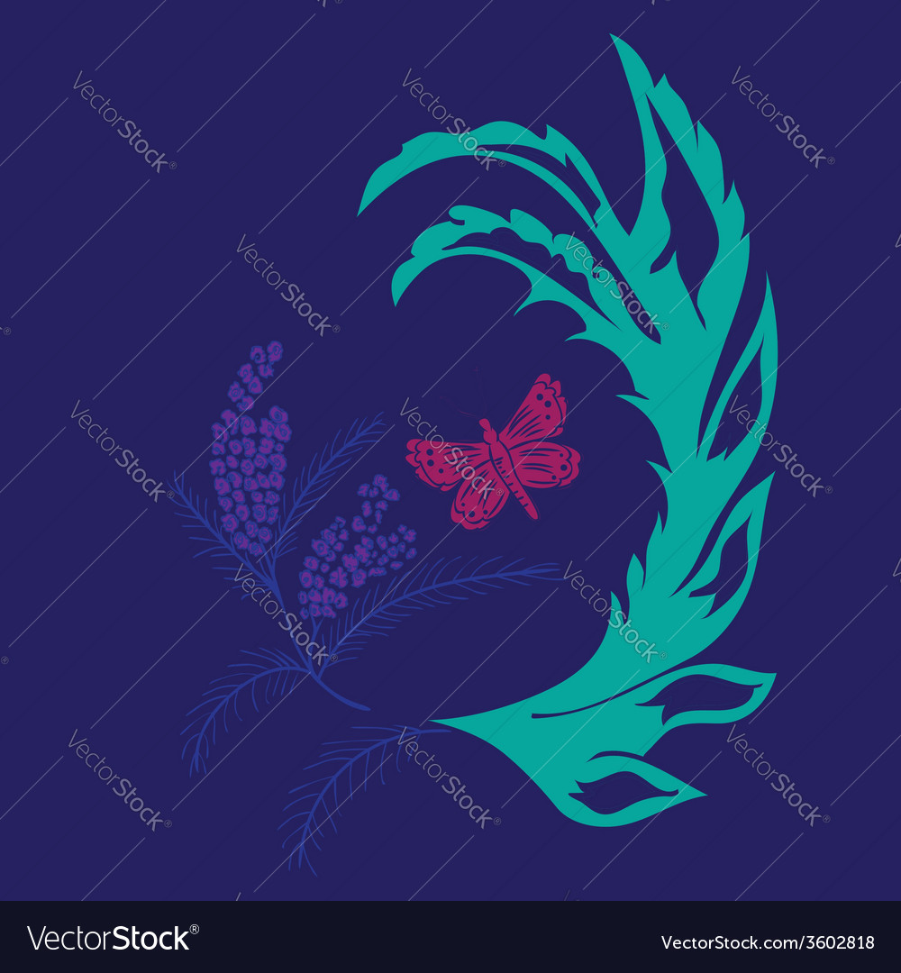 Butterfly with floral4 vector | Price: 1 Credit (USD $1)
