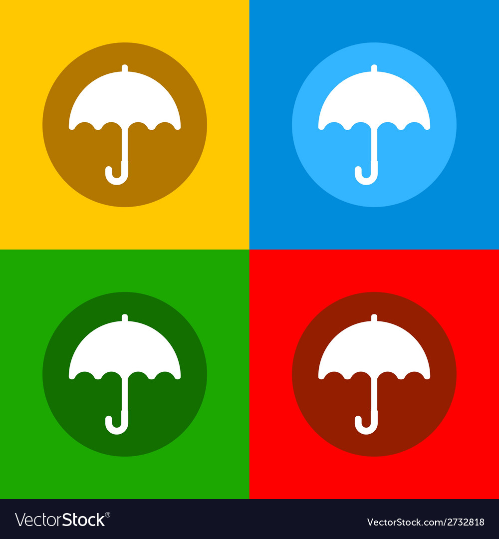 Color umbrella icons set in flat design style vector | Price: 1 Credit (USD $1)