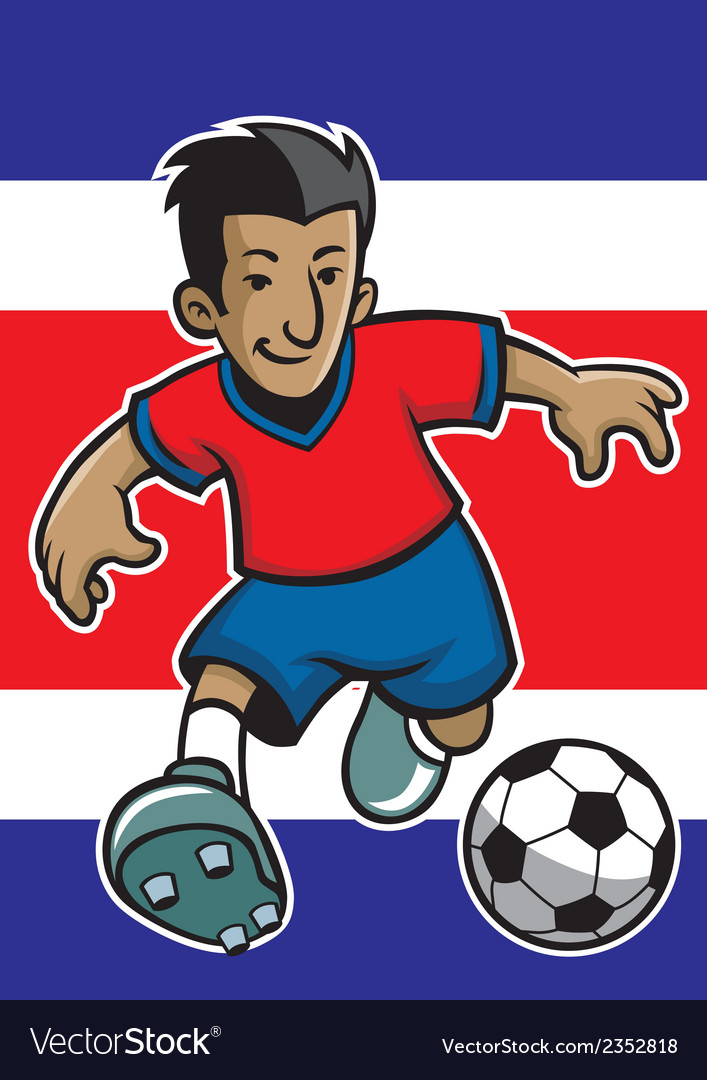 Costa rica soccer player with flag background vector | Price: 1 Credit (USD $1)
