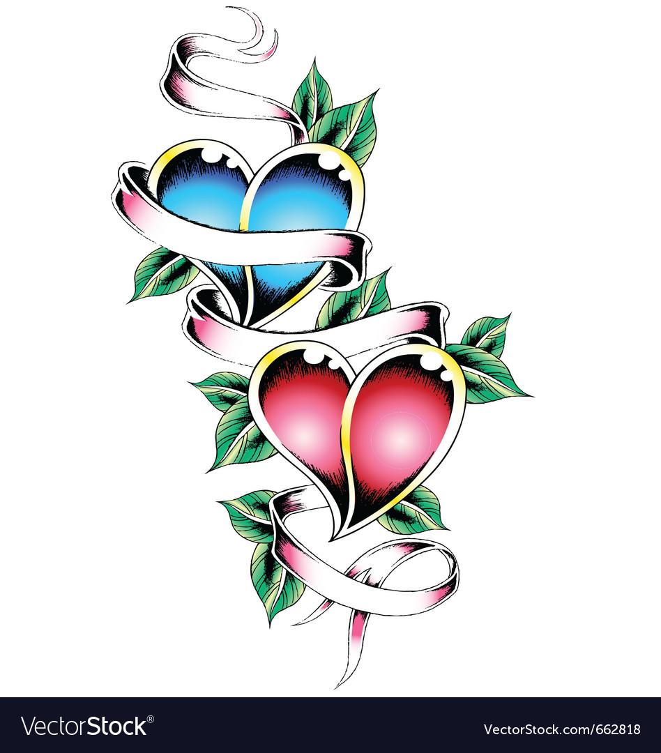 Double heart tattoo design vector | Price: 1 Credit (USD $1)