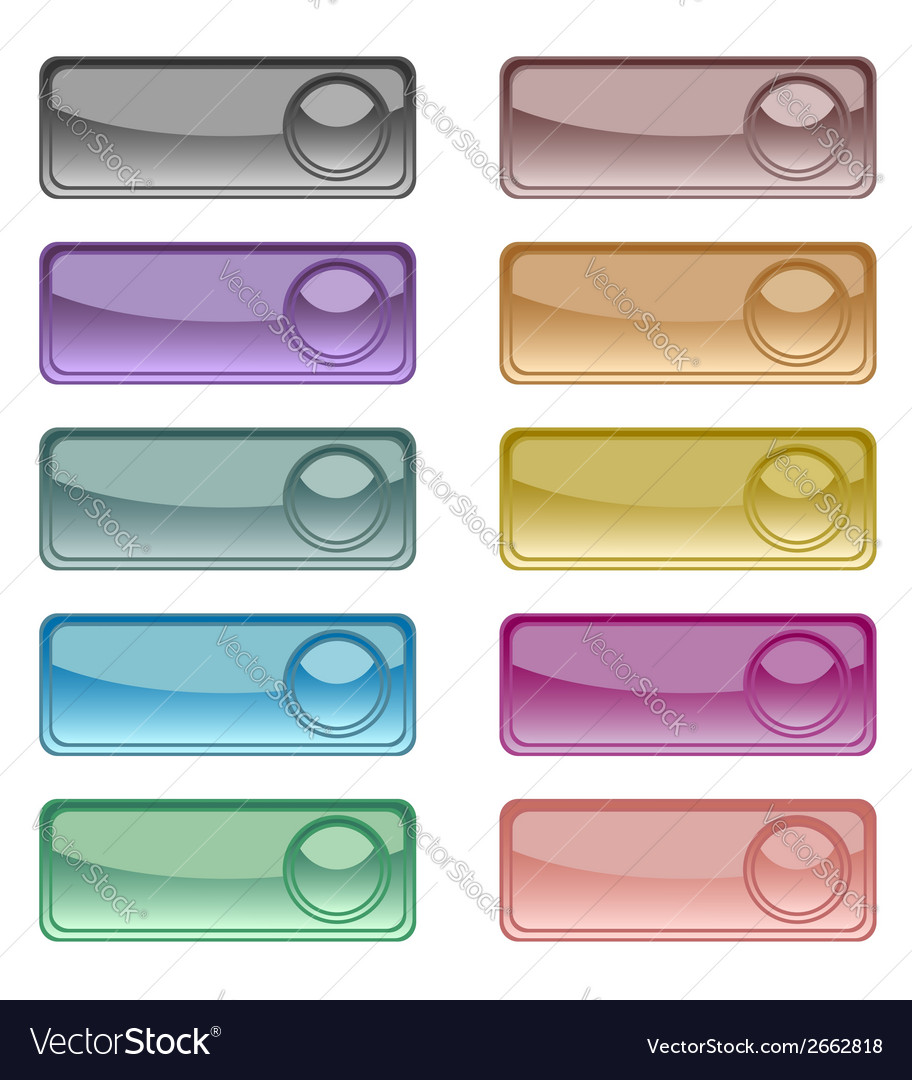 Glossy colorful web buttons set vector | Price: 1 Credit (USD $1)