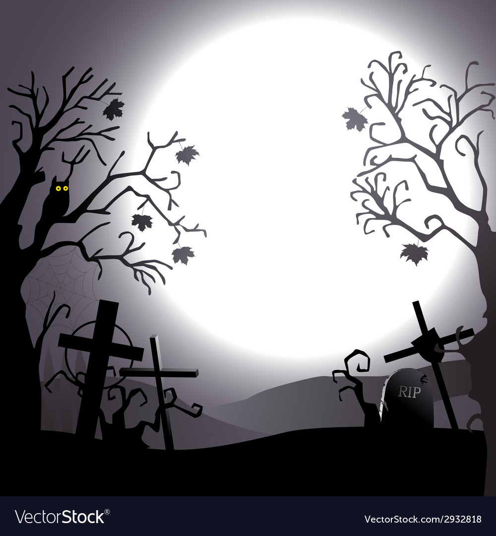 Halloween background destroyed cemetery and owl vector | Price: 1 Credit (USD $1)