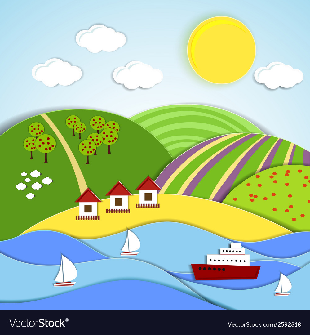 Landscape of sea sun and green hills vector | Price: 1 Credit (USD $1)