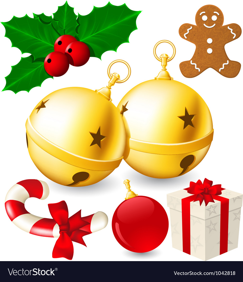 Set of christmas decoration bells made with vector | Price: 3 Credit (USD $3)