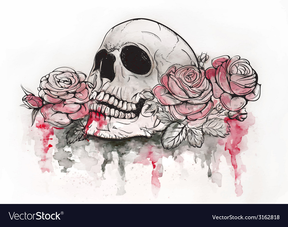 Skull with roses vector | Price: 1 Credit (USD $1)