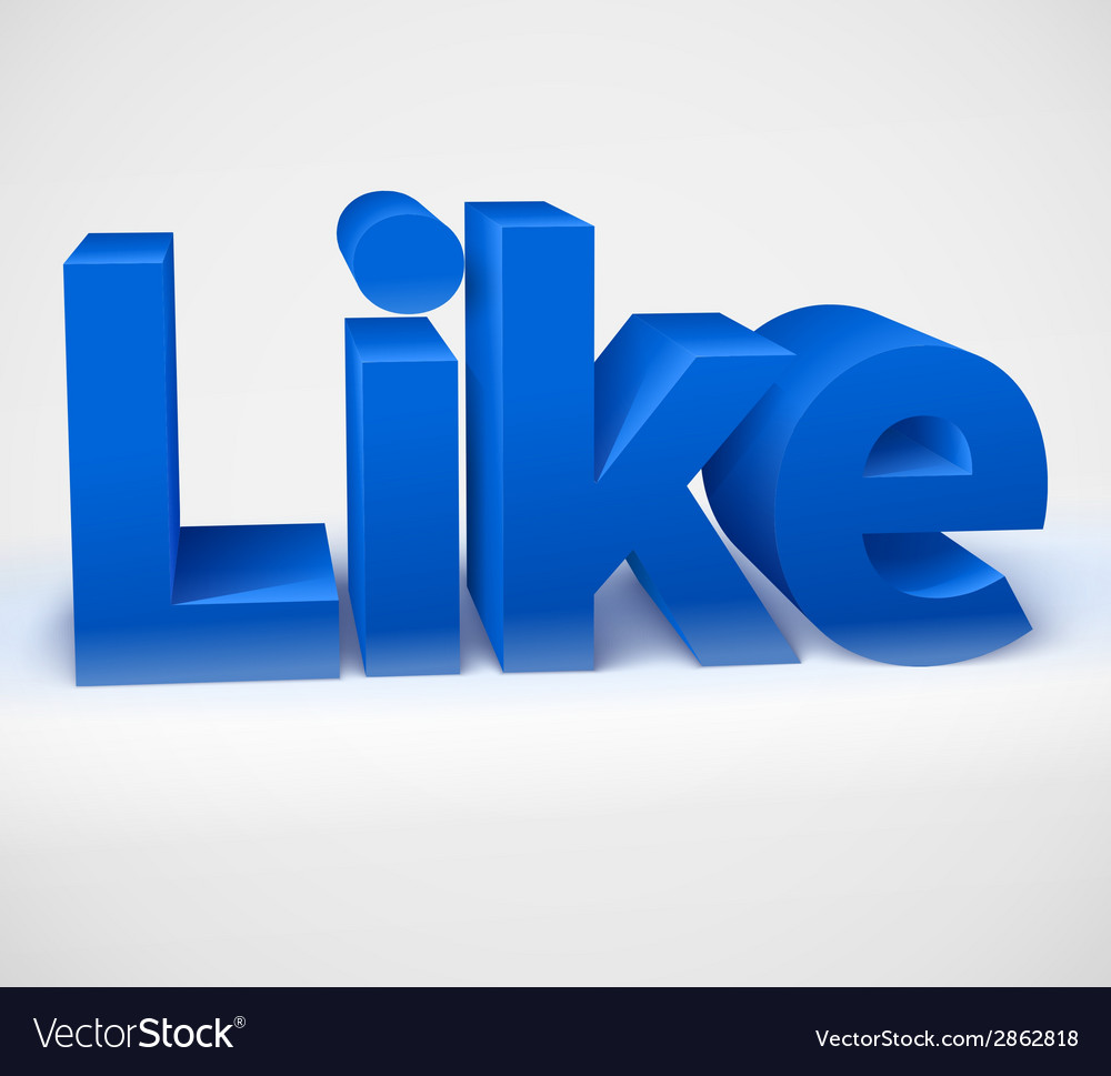 Social media concept blue 3d like word on white vector | Price: 1 Credit (USD $1)