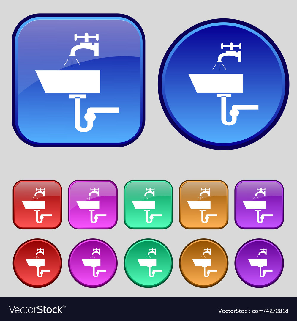 Washbasin icon sign a set of twelve vintage vector | Price: 1 Credit (USD $1)
