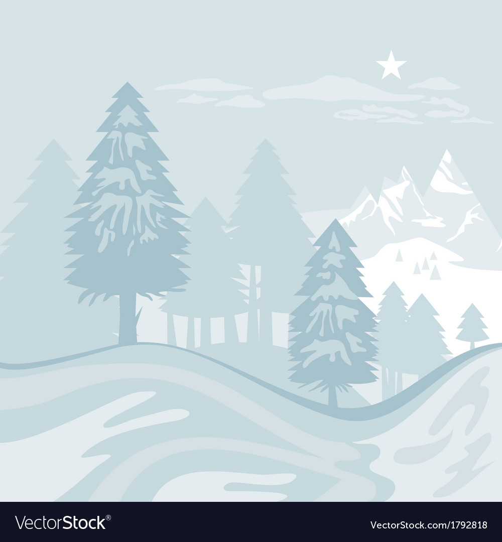 Winter alpine landscape vector | Price: 1 Credit (USD $1)