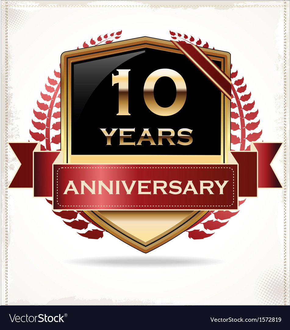 10 years anniversary golden label vector | Price: 3 Credit (USD $3)