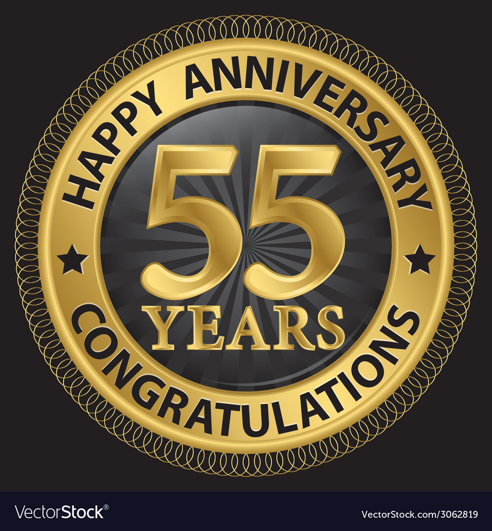 55 years happy anniversary congratulations gold vector | Price: 1 Credit (USD $1)