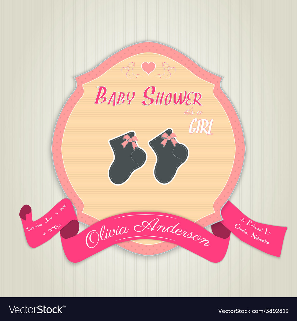 Baby shower invitation with socks for baby girl vector | Price: 1 Credit (USD $1)