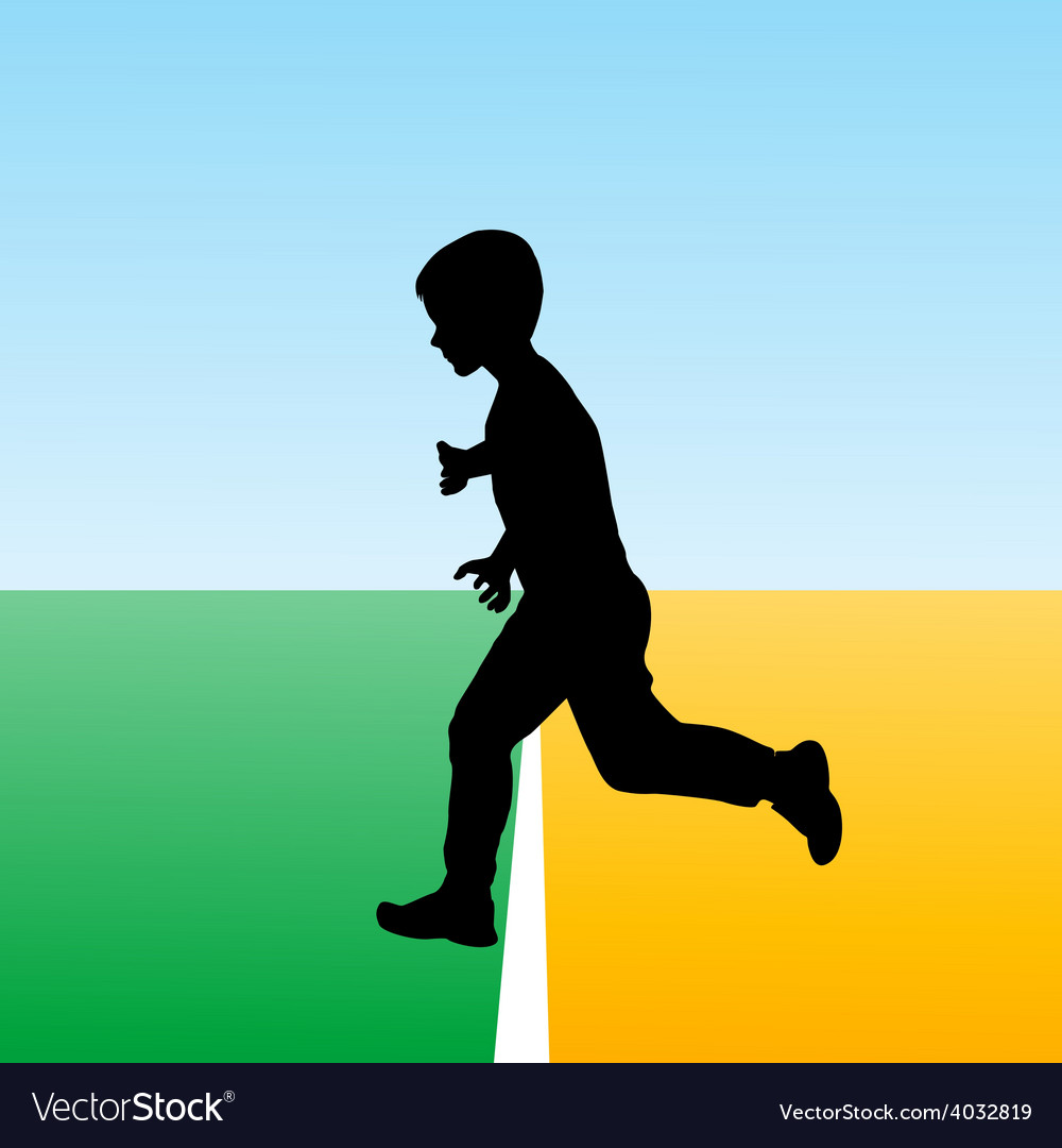 Boy crossing the finish line concept for new begin vector | Price: 1 Credit (USD $1)