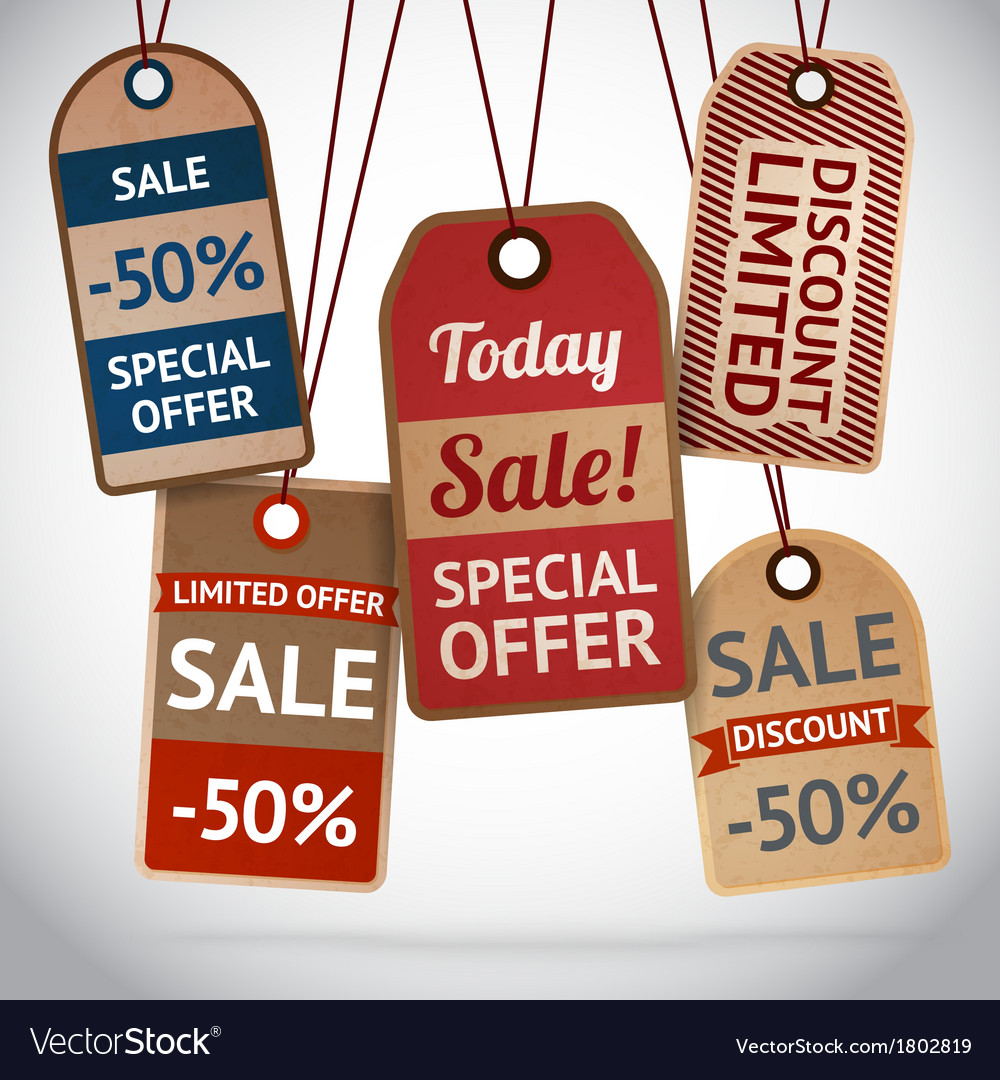 Collection of discount cardboard sale labels vector | Price: 1 Credit (USD $1)