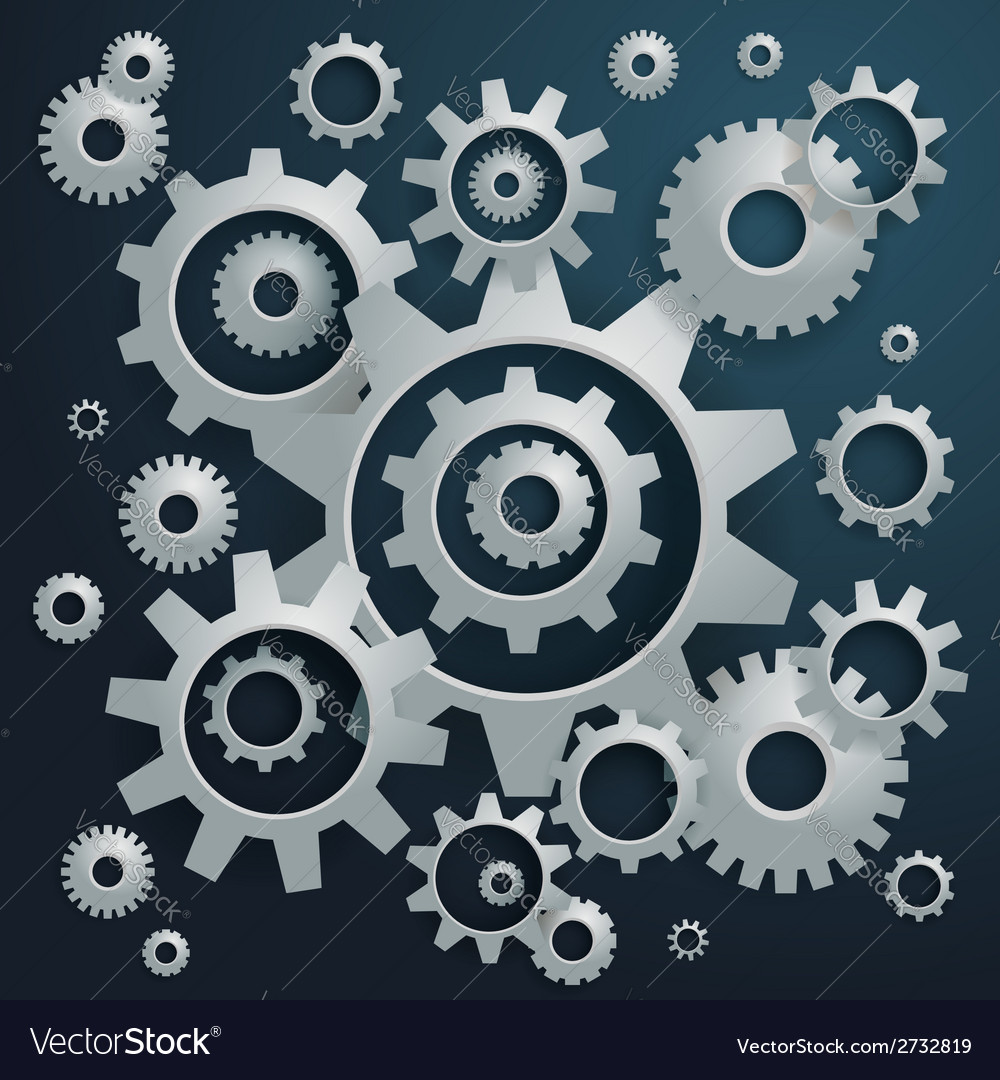 Connected realistic dimensional gear cogs silhouet vector   Price: 1 Credit (USD $1)