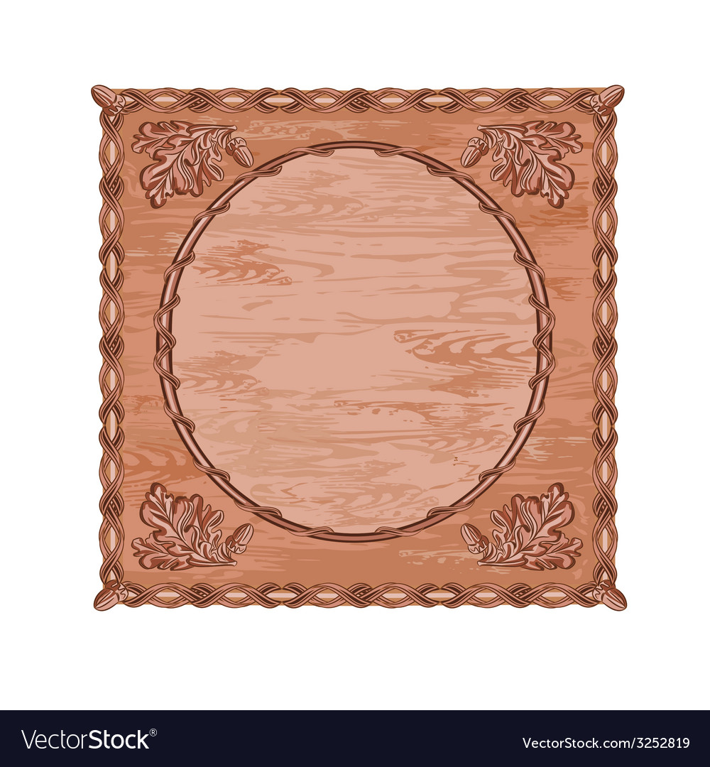Decorative frame oak leaves and acorns woodcarving vector | Price: 1 Credit (USD $1)