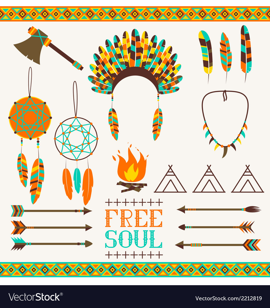 Ethnic icon set in netive style vector | Price: 1 Credit (USD $1)