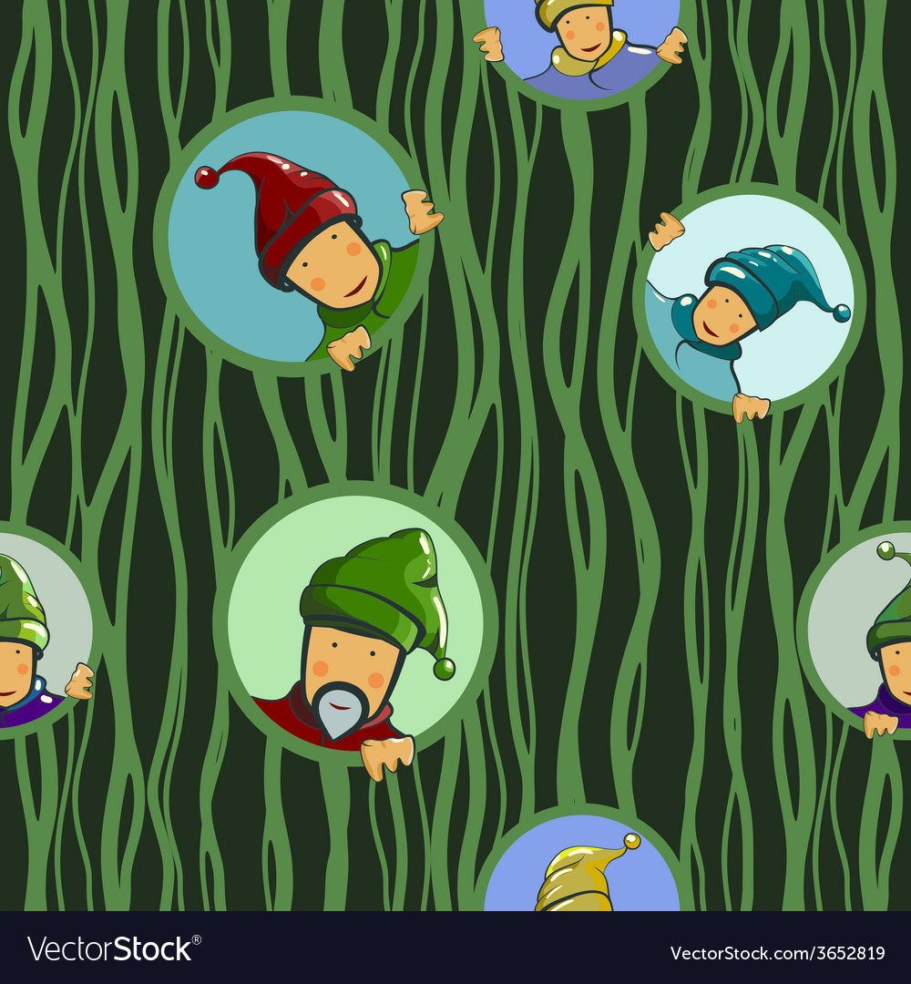 Gnomes in circles seamless pattern vector | Price: 1 Credit (USD $1)