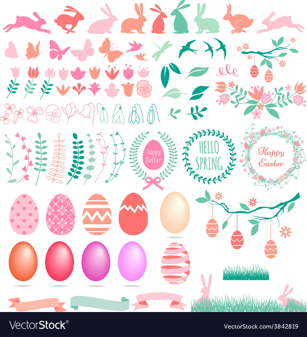 Happy easter set of design elements vector | Price: 1 Credit (USD $1)