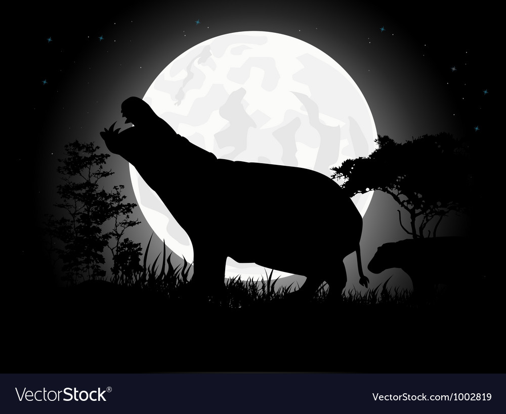 Hippo silhouette with giant moon background vector | Price: 1 Credit (USD $1)