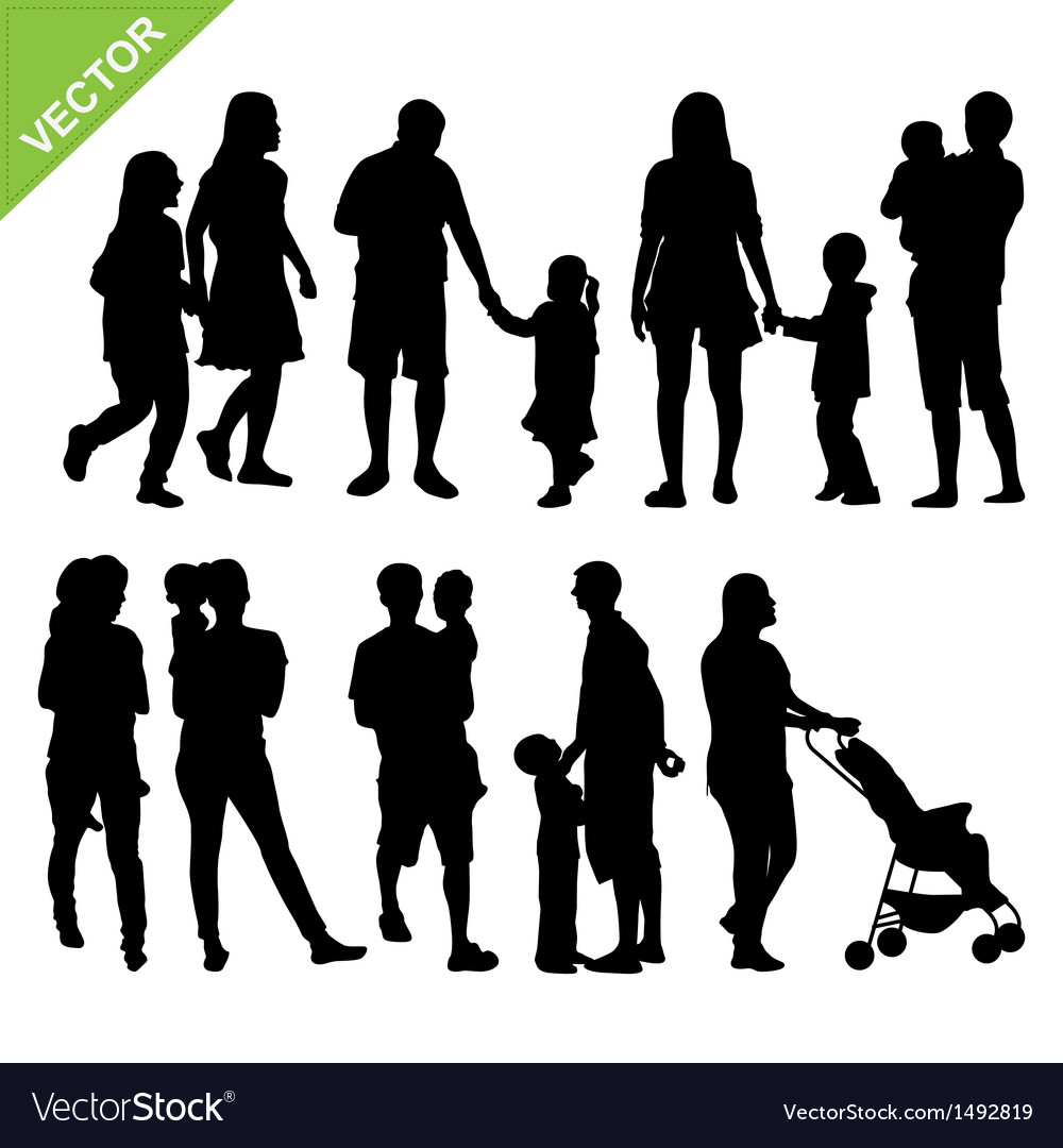 Kids and family silhouette vector | Price: 1 Credit (USD $1)