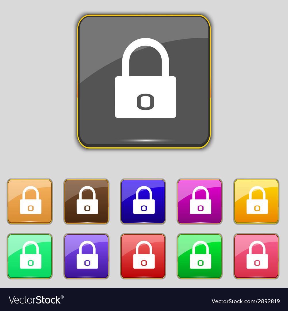 Lock sign icon locker symbol set colur buttons vector | Price: 1 Credit (USD $1)