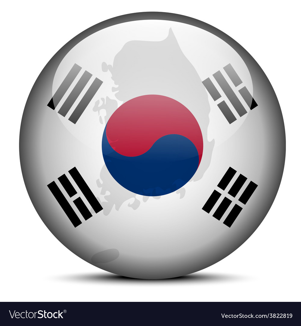 Map on flag button of republic of korea south vector | Price: 1 Credit (USD $1)