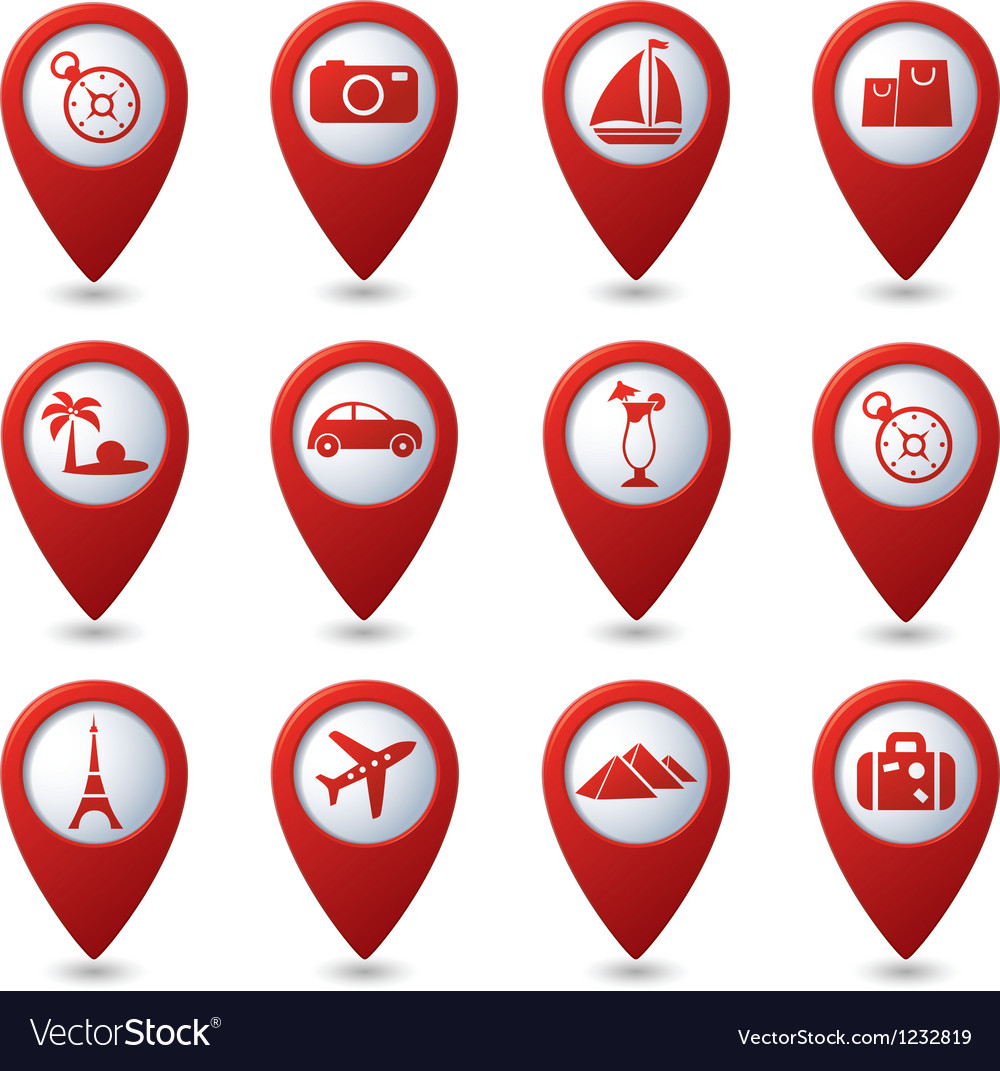 Map pointers with travel icons vector | Price: 1 Credit (USD $1)