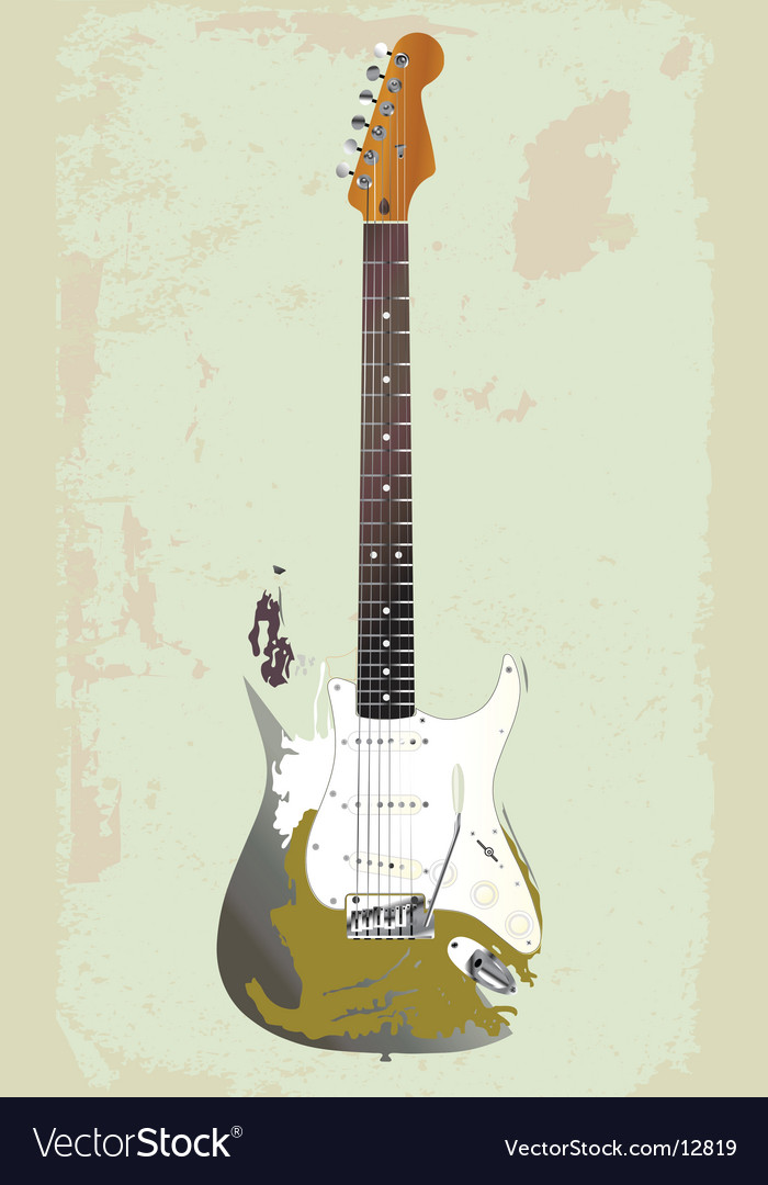 Vintage electric guitar on wall vector