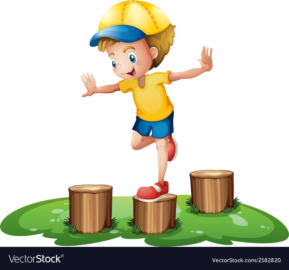 A smiling boy playing with the stumps vector   Price: 1 Credit (USD $1)