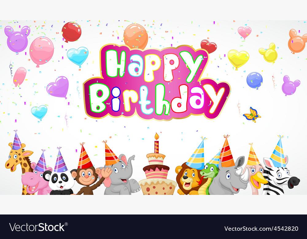 Birthday background with happy animals vector | Price: 3 Credit (USD $3)